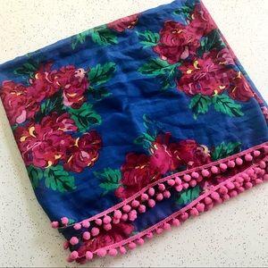 Floral tassel Pom Pom summer circle scarf